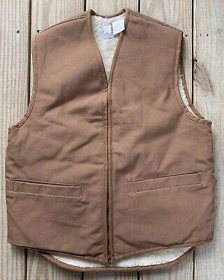 Vintage Carhartt Sherpa Lined Duck Canvas Cowboy Rancher Hunting Vest - Vest Cowboy
