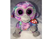 "Ty 6/"" ZURI Colorful Monkey Beanie Boos Plush Stuffed Animal w// MWMT/'s Heart Tags"