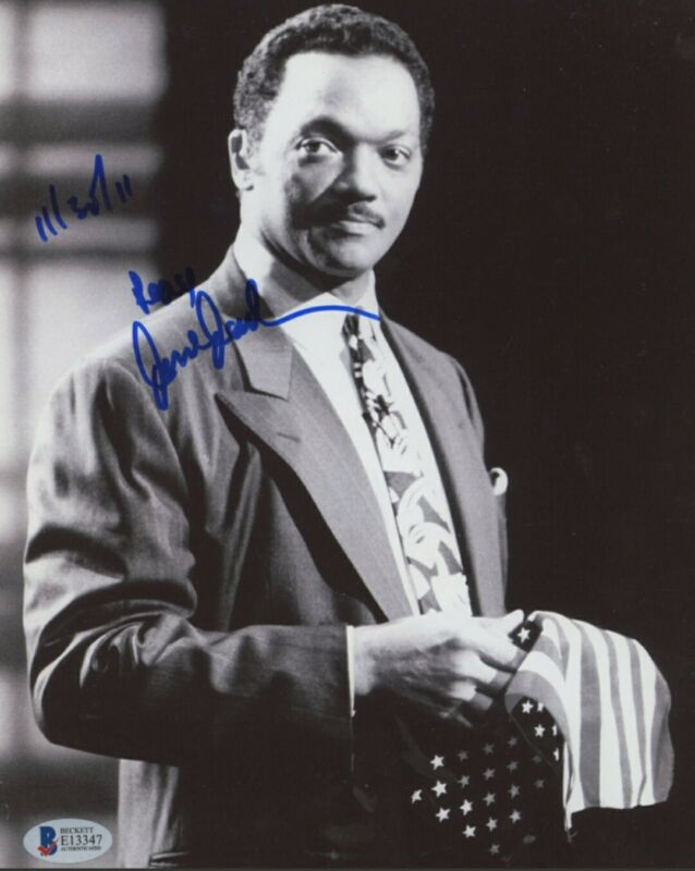 "Jesse Jackson Signed 8x10 Photo Inscribed ""11/30/11"" & ""Peace"" (Beckett COA)"