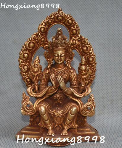 Tibet Buddhism Bronze Gold Gilt Seat Lotus Maitreya Buddha Backlight Statue
