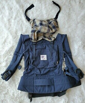 Ergo Baby Organic Baby Carrier Blue Boys Plaid Used