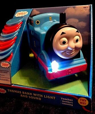 *NIB* Thomas the Train Educational Bank Learning Toy with light and sounds Boy Train Bank
