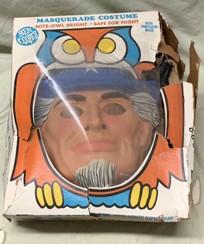 Vintage Ben Cooper Uncle Sam Mask Full Costume Halloween Original Box Size 8-10