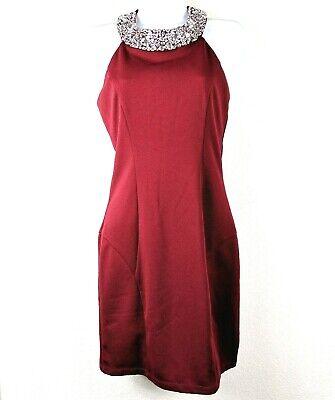 Xtraordinary Formal Prom Dress Red Maroon Jewel Collar Neck Short Dillards Sz 5 Dillards Special Occasion Dresses