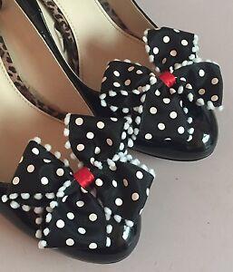 Polkadot Shoe Clips 4 Shoes Black WHite Red Bows Pinup Vintage Retro Burlesque