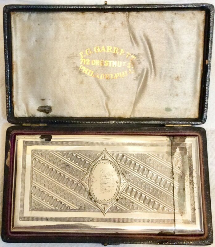 ANTIQUE 1860s SOLID STERLING SILVER ENGRAVED DESIGNED CALLING CARD CASE