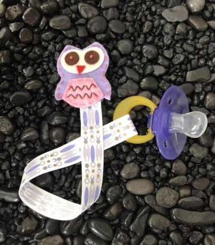 OWL Ribbon Baby Pacifier Holder Clip Strap, Binky, Paci Leash-Handmade-Free Ship - $7.99