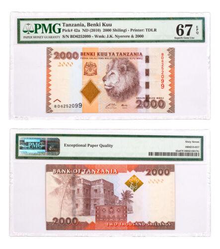 (2010) Tanzania Benki Kuu 2000S Note Pick # 42a PMG Superb Gem Unc 67 EPQ