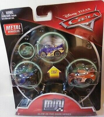 Disney Pixar Cars 3 Pack Mini Die Cast Racers Glow In The Dark Jackson Storm