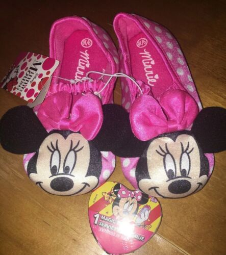Toddler Girls Disney Minnie Mouse Slippers Sz 9-10 NWT + Mag