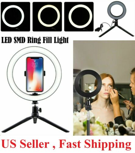 "8"" LED Ring Light with Tripod Stand & Phone Holder Dimmable Desk makeup Kit us"