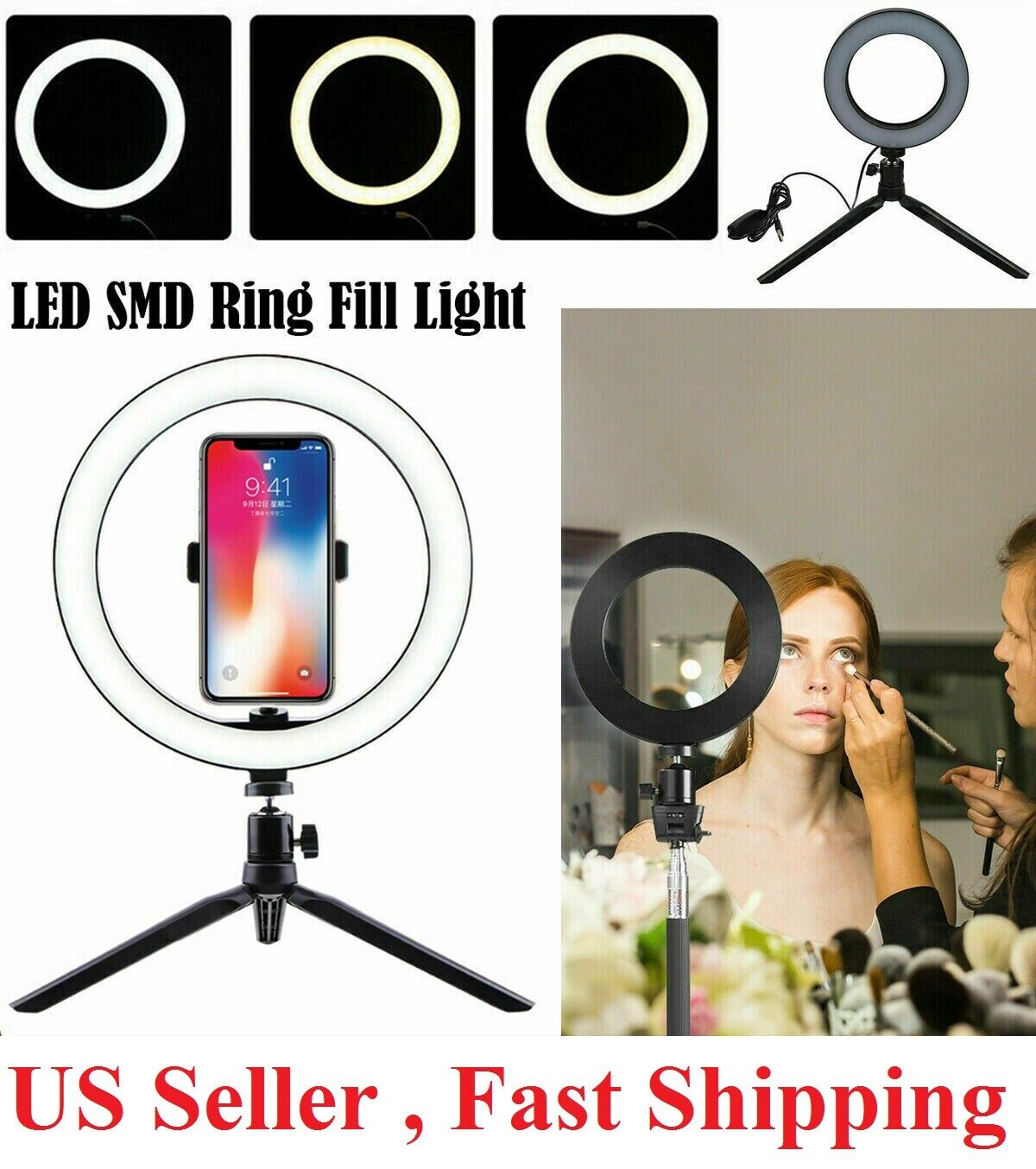 8″ LED Ring Light with Tripod Stand & Phone Holder Dimmable Desk makeup Kit Cameras & Photo