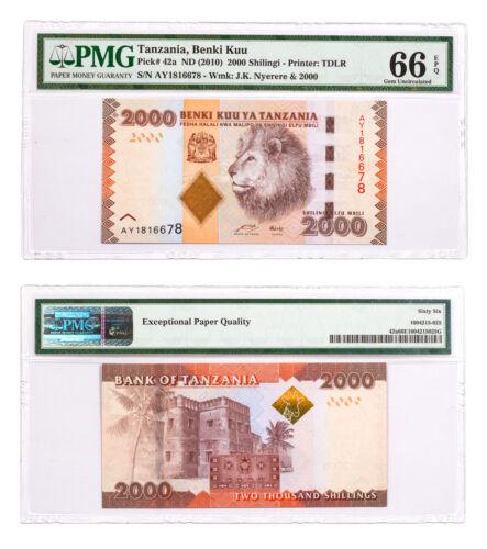 (2010) Tanzania 2000 Shillings Benki Kuu Note Pick #42a PMG Gem Unc 66 EPQ