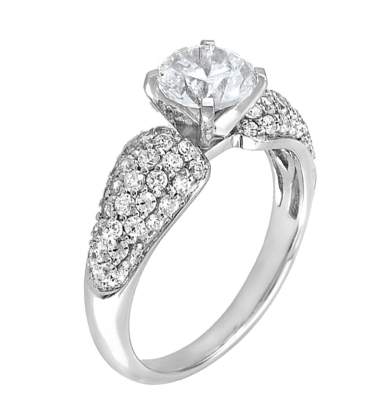 GIA Certified Round Diamond Engagement Ring 18k White Gold 1.81 Carat total 1