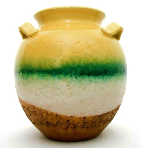 MID-20TH C VINT ITALIAN TRI-COLOR DIPPED TERRACOTTA 3 HANDLED CERAMIC VASE #314