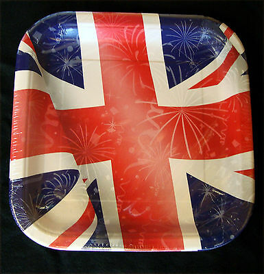 8 X Großbritannien Teller Union Jack Quadratisch Papier Platte UK GB Party