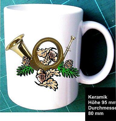Jagd Wild Kaffee Keramik Tasse Pott Geschenk Idee Motiv  Jagdhorn mit Eichenlaub