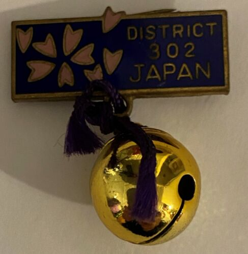 Vintage Lions Club Pin District 302 Japan Made By Prince, Cherry Blossom & Bell