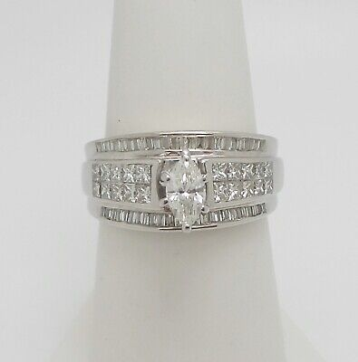 14k Gold Marquise Diamond Solitaire - 1.25CT Marquise Diamond Solitaire Engagement Wedding Bridal Ring 14K White Gold