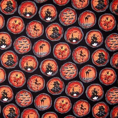Halloween Fabric - Cat House Bat Witch Medallion Black - Michael Miller YARD](Michael Miller Halloween Fabric)