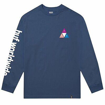 NWT HUF Prism Triple Triangle Long Sleeve T-Shirt Insignia Blue