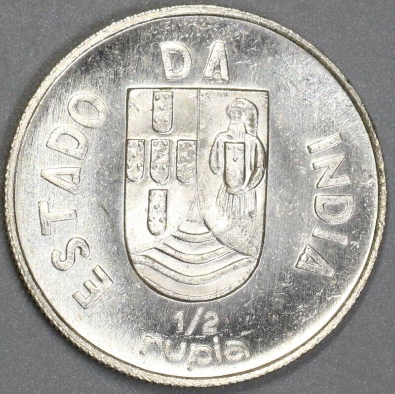 1936 India Silver 1/2 Rupia Portugal Colony Choice UNC Coin (19071106R)