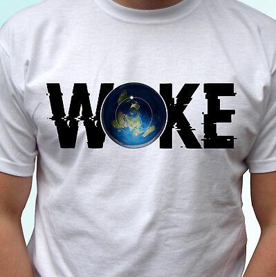 Woke Flat Earth T Shirt Quote Top Tee Design Mens Womens Kids Sizes