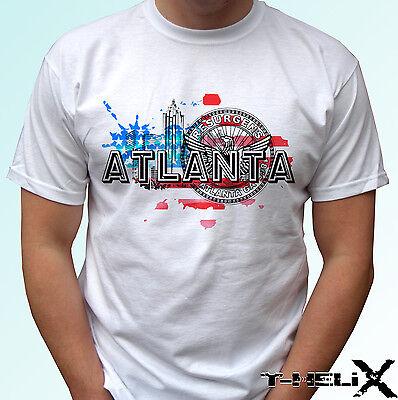 Atlanta City - white t shirt top USA design flag - mens womens kids & baby sizes (Kid City, Usa)