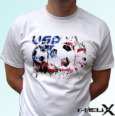 USA football flag - white t shirt top soccer tee - mens womens kids (Usa Soccer Baby T-shirt)