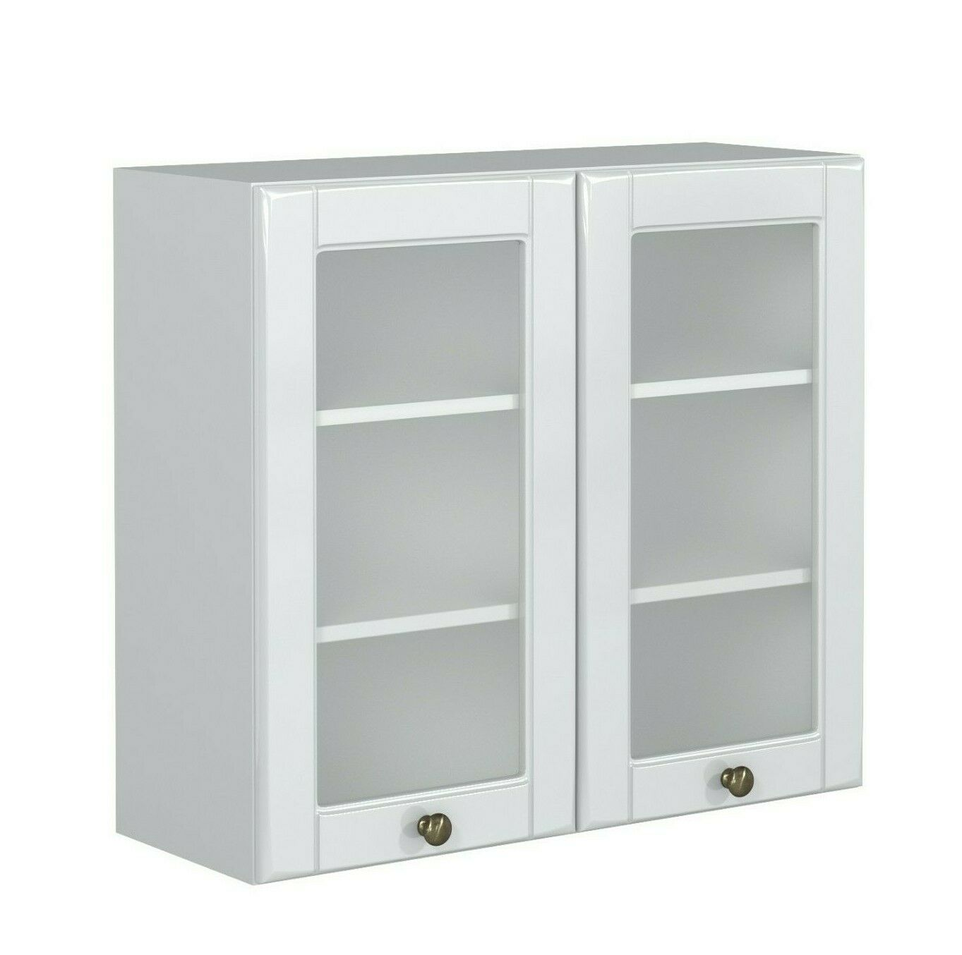 White Gloss Kitchen Glass Door Unit Wall Cabinet 80cm 800 Cupboard Shaker Antila Ebay