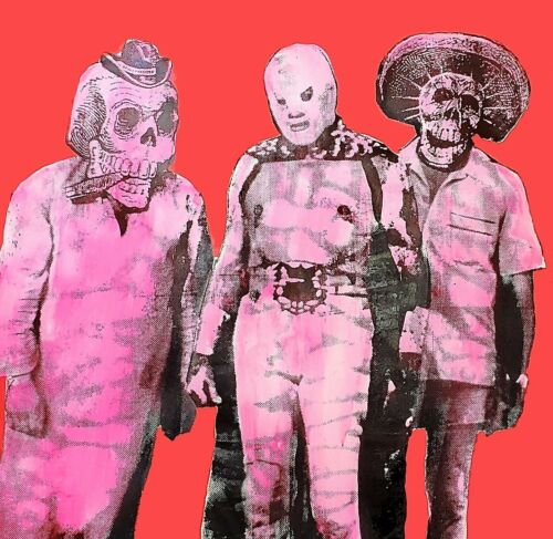 Big Mexican POP Art day of the dead wrestling El Santo pink silkscreen art rosa