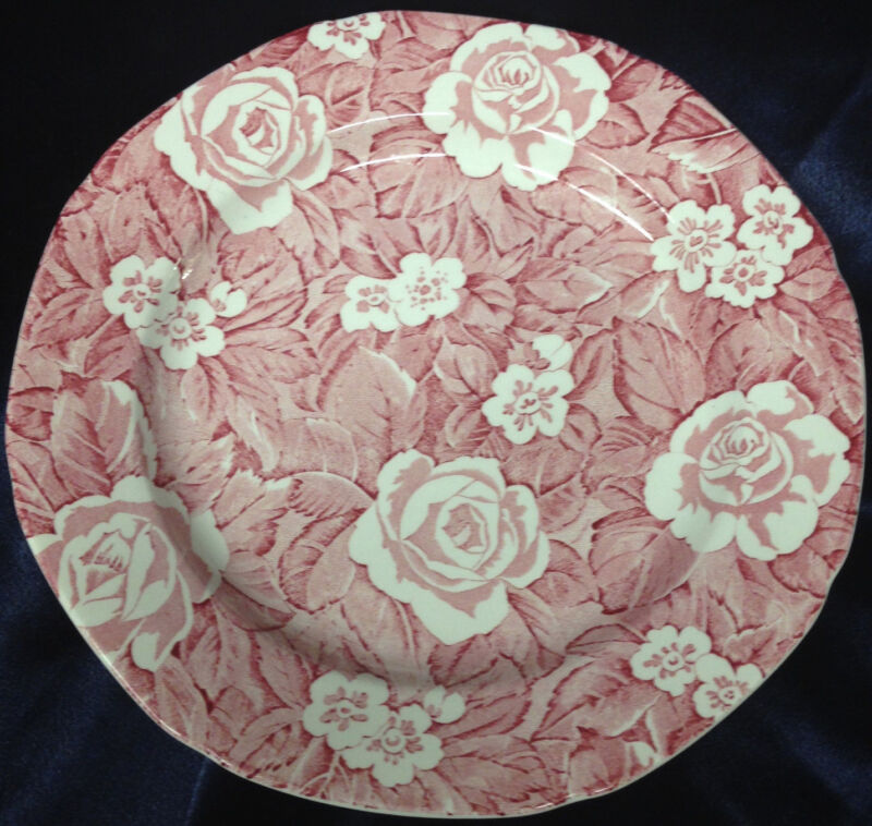 "BURLEIGH BURGESS LEIGH ENGLAND VICTORIAN CHINTZ DINNER PLATE 9 5/8"" RED & WHITE"