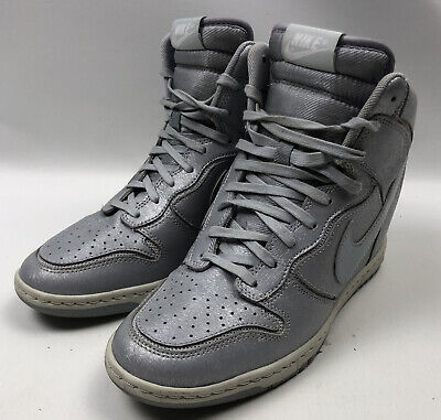 Nike Sky High Dunk Silver Grey Wedge Heeled Trainer Boots Size 6 UK 40 EUR