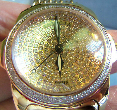 Invicta Women's Diamond Pave 2973 Gold Tone Swiss Quartz Watch gold dial nice