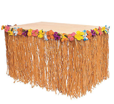 Hibiscus Tropical Flowered Raffia Table Skirt pool luau DECORATIONS Tiki Bar - Raffia Table
