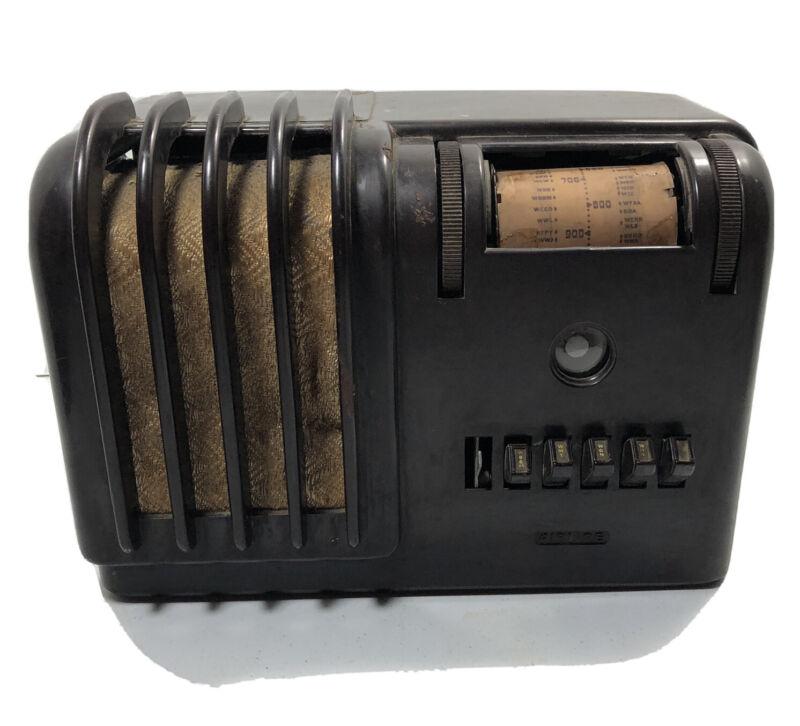 Vintage Wards Airline Bakelite Tube Radio Push Button Brown NOT WORKING