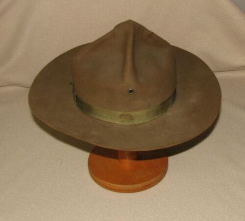 BOY SCOUTS OLD CAMPAIGN FIELD WOOLEN FELT HAT w UNITED HATTERS MILLINERY LABEL
