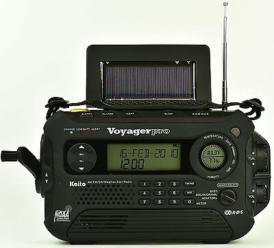 New Kaito Ka600l Solar Crank Noaa Weather Radio With Am Fm Shortwave   Black