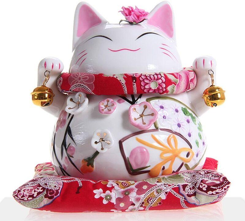 Goodwei Maneki Neko - Japanese Lucky Cat with Two Bells, Ornately Decorated 1 PK