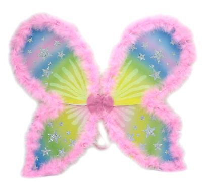 Dressing Up Fancy Dress Costume Outfit Accessory Glitter Stars Pink Fairy Wings - Dressing Up Fairies