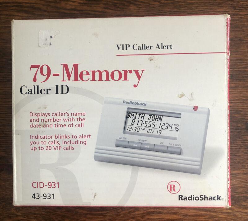 Radio Shack Caller ID System 79-Memory Model CID-931 / 43-931 / White NEVER USED