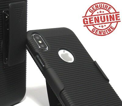 For iPhone X XS Black Slim PC Hard Shell Case with Belt Clip Holster - logo Black Shell Case Belt Clip