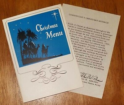 Christmas Menu and Prayer Message Card Vietnam 1969 General Abrams Vintage RARE ()