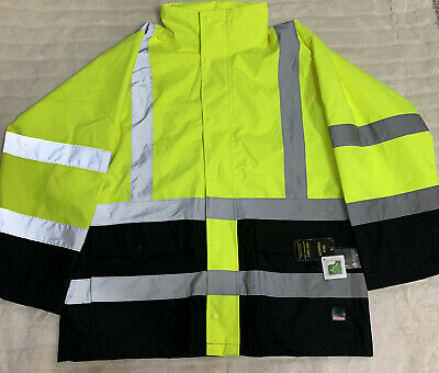 Craftsman Hi-vis Rain Jacket Ansi Class 3 High Visibility Yellow Reflective Xl
