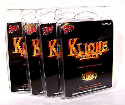 Hoppin Hydros 1/24 Scale Lowrider Car Club Plaque Klique (4 Pack)