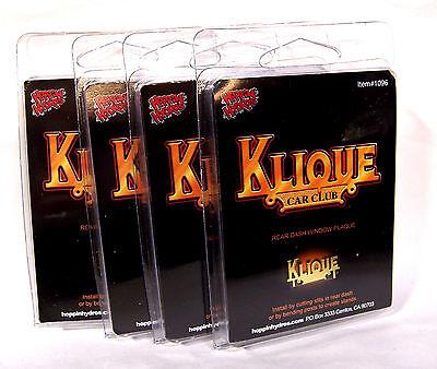 Hoppin Hydros 1/24 Scale Lowrider Car Club Plaque Klique (4 Pack)