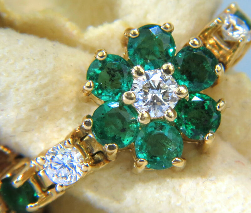 █$8000 VIDEO 5.75CT NATURAL FINE EMERALD DIAMONDS TENNIS CLUSTERS BRACELET 14KT