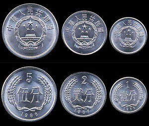 China 1, 2, 5  Fen 3 UNC Coin Set
