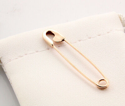 18K Rose Gold Safety Pin Handmade in USA (1.25'')
