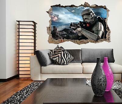 Star Wars Battle Front Trooper Crack Poster Kids Room Vinyl Wall Sticker Art